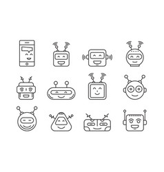 set outline robot icons vector image vector image