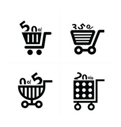 Shopping cart icons and discount vector