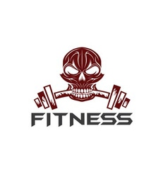 skull holding a barbell in the teeth vector image vector image