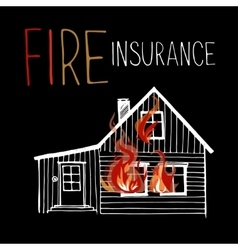 The burning house fire out of the windows vector