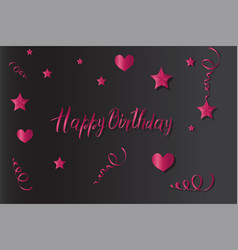 Tinsel and stars happy birthday set for cards and vector