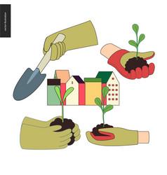 Urban farming and gardening hands set vector