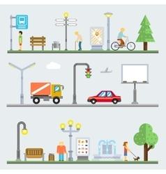 Urban landscape set cityscape vector