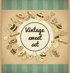 Vintage sweet products and desserts template vector