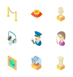 Walk in museum icons set cartoon style vector