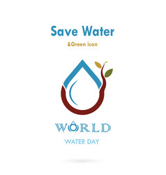 water drop with small tree icon logo design vector image