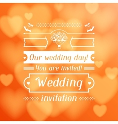 Wedding invitation card in retro style vector image