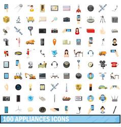 100 appliances icons set cartoon style vector