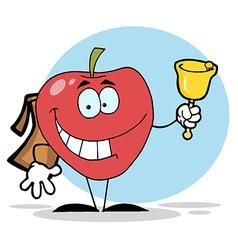 Happy school apple ringing a bell vector