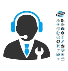 Service manager icon with copter tools bonus vector