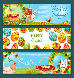 Easter egg and rabbit cartoon banner set design vector