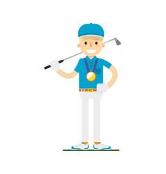 smiling golfer winning gold medal vector image