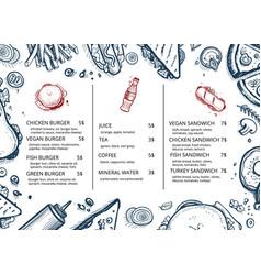 restaurant food menu retro hand drawn design vector image