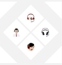 Flat icon hotline set of help operator headphone vector