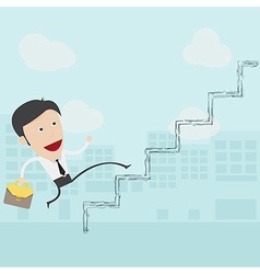 businessman in white shirt walks up the ladder vector image