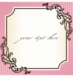 vintage rococo frame in pink vector image
