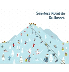 Cartoon mountain ski resort seamless border vector