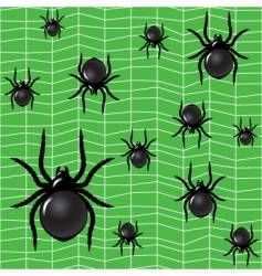 Spiders on a green background vector