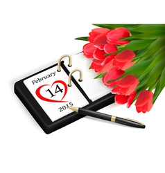 Valentines Day Calendar February 14 of Saint vector image