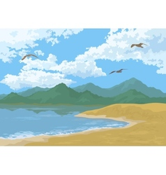 Sea landscape with mountains and birds vector