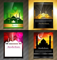 Attractive set of brochure of eid festival vector