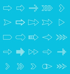 Arrow line icons on blue background vector