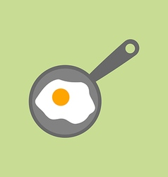 Fried egg on pan vector