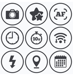 Photo camera icon flash light and autofocus af vector