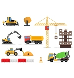 Construction site building a house - flat vector