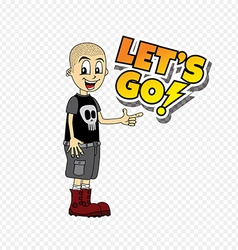 Male cartoon character lets go text theme vector