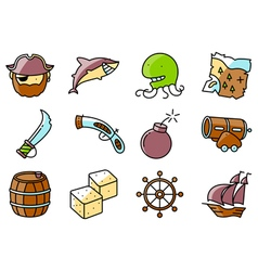 Pirate and criminal icons set vector