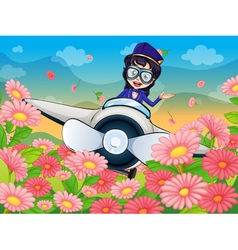 A girl flying plane vector