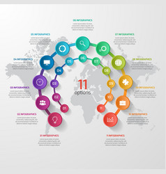 Abstract circle infographic 11 options vector