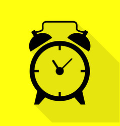 Alarm clock sign black icon with flat style vector
