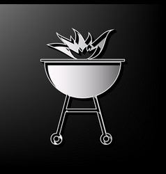 Barbecue with fire sign gray 3d printed vector