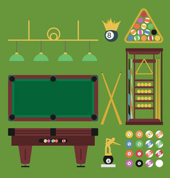 billiards flat set vector image
