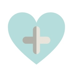Blue heart with cross form vector