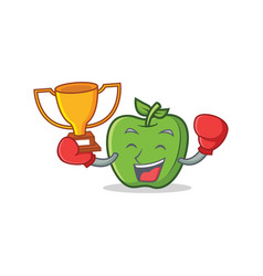 Boxing winner green apple character cartoon vector