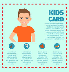 boy in orange t-shirt infographic card vector image