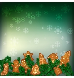 Christmas background with gingerbreads vector