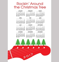Christmas rock and roll calendar vector image