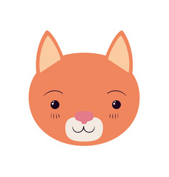 Colorful caricature cute face cat tranquility vector