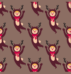 Cute deer kids wearing christmas costumes vector