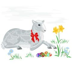 Easter lamb and daffodil vector image vector image