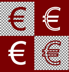 Euro sign bordo and white icons and line vector