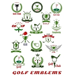 Golf sport icons and symbols set vector