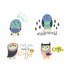 hand drawn symbols icons with owls vector image vector image