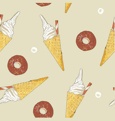 ice-cream cone and donut seamless pattern vector image