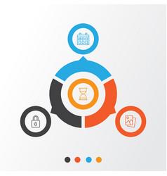 icons set collection of safeguard calendar vector image