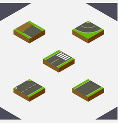 Isometric way set of incomplete road footer and vector